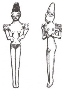 Ophidian (snake-like) figurines from ancient Sumer